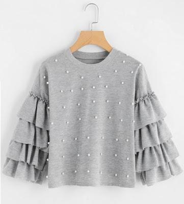 beaded shirt, flared sleeves, bell sleeves, rukavi, zvonoliki, gray, grey, siva, majica, cute, simpatično,