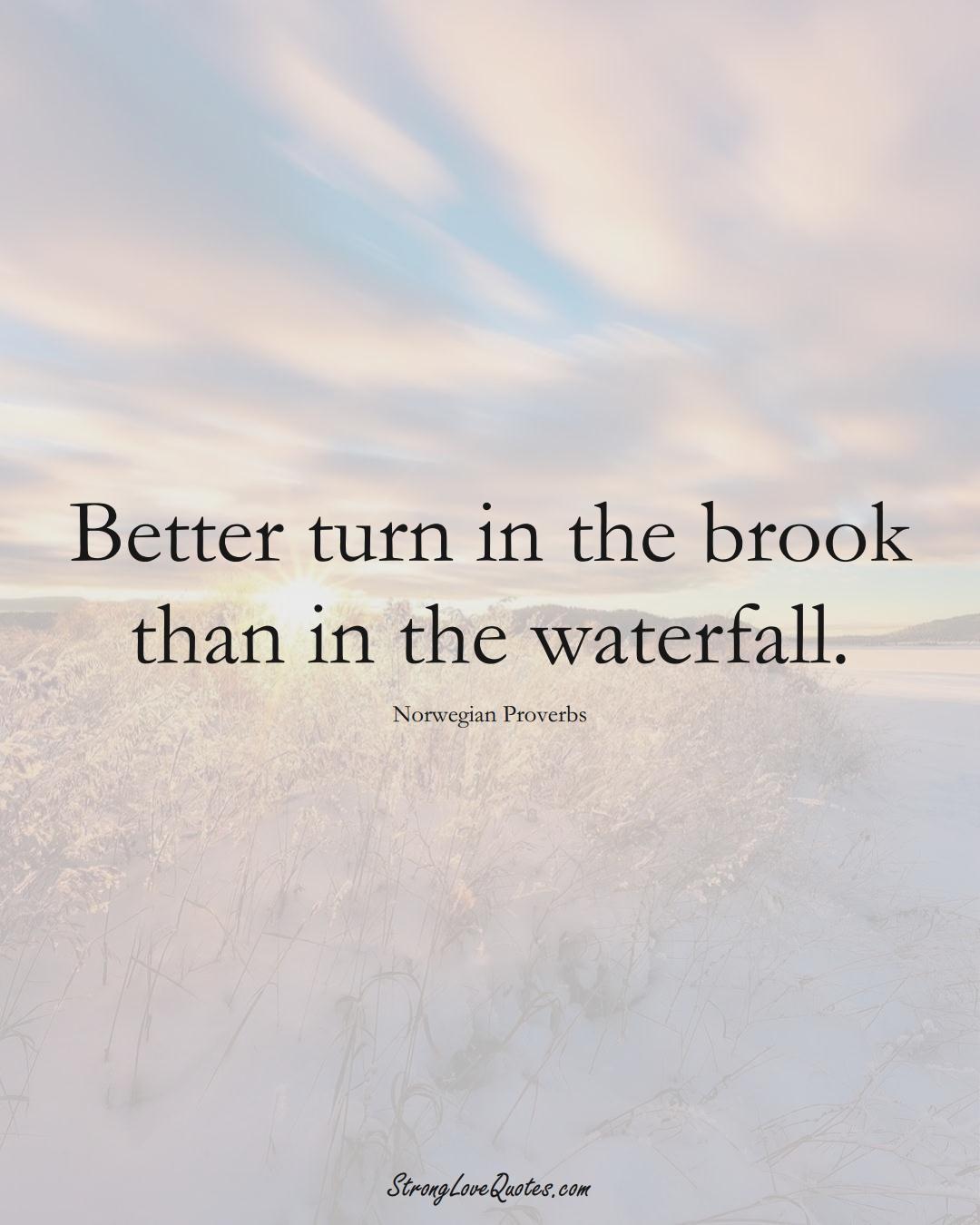 Better turn in the brook than in the waterfall. (Norwegian Sayings);  #EuropeanSayings