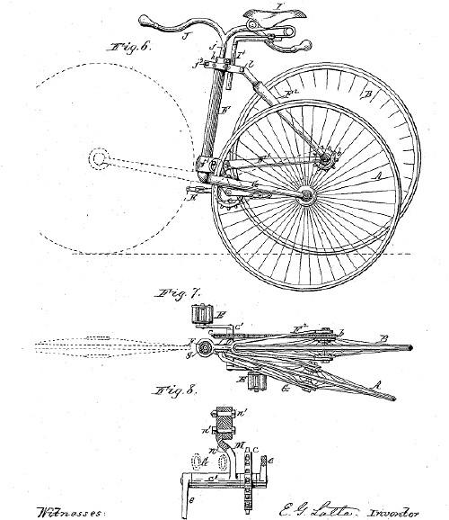 Gambar Sepeda setelah dilipat - temuan Latta yang disertakan dalam pengajuan patennya.