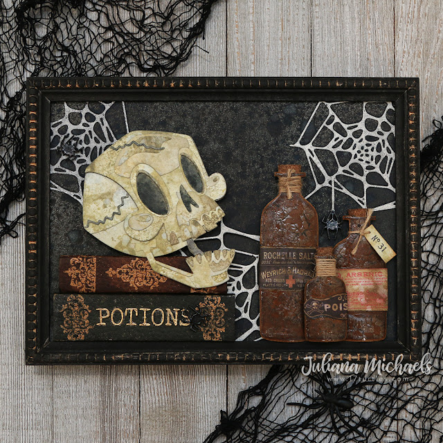 Skelly Apothecary Halloween Frame by Juliana Michaels featuring Tim Holtz Sizzix