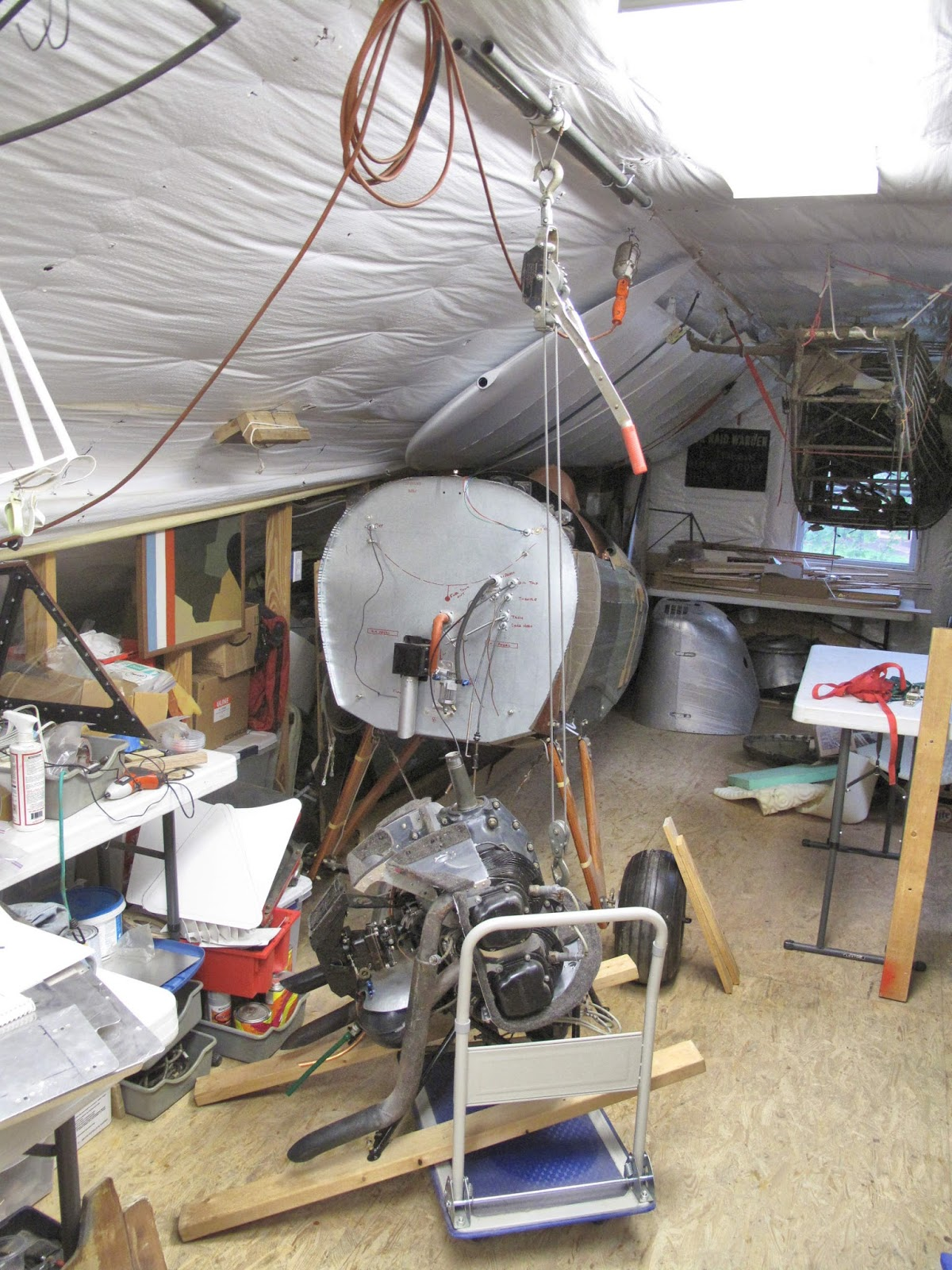 Fly Baby N4284c Memories And Adventures June 2016 Home Wiring Through Attic After Taking Off The Cowling Horizontal Tail Surfaces First Big Task Was To Remove Engine I Used Come Along On My Slider Tubes From