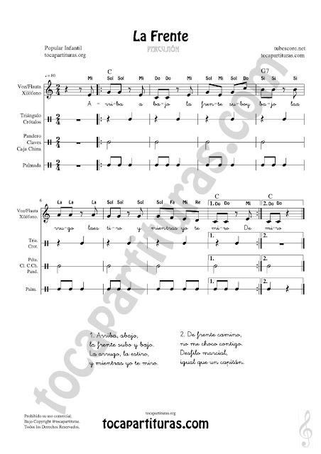 Partitura de Xilófono / Metalófono, Voz, Flauta, Percusión Corporal y Pequeña Percusión para cantar (Xhilophone, taoumborine, clap and voice song for teachers of music (Class)