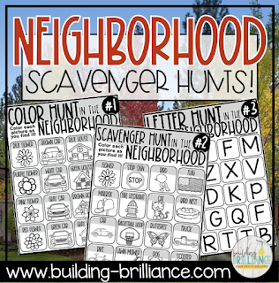 Get your kids outside, while still practicing safe social distancing, with these fun and free neighborhood scavenger hunts! Exercise is proven to improve physical and emotional health. Use these to get outside and explore! #BuildingBrilliance #distancelearning #teacherspayteachers