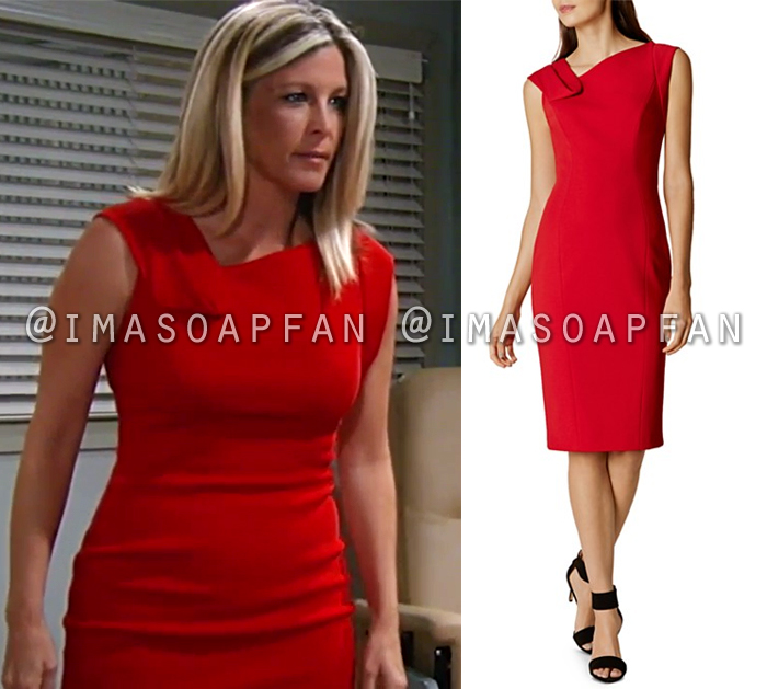 Carly Corinthos, Laura Wright, Red Pencil Dress with Folded Neckline, General Hospital, GH