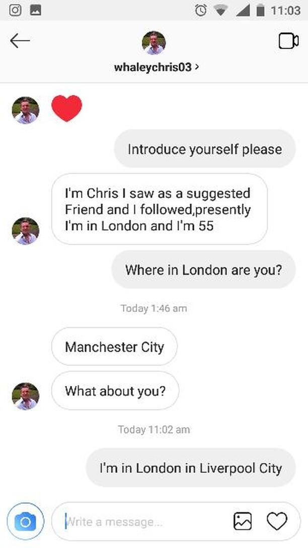 InstaScams: whaleychris03 SCAMMER