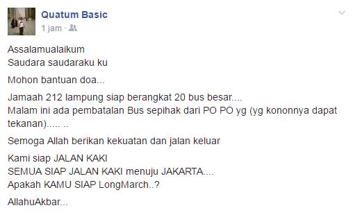 Jamaah 212 Lampung Siap Jalan Kaki Setelah Beberapa PO Membatalkan