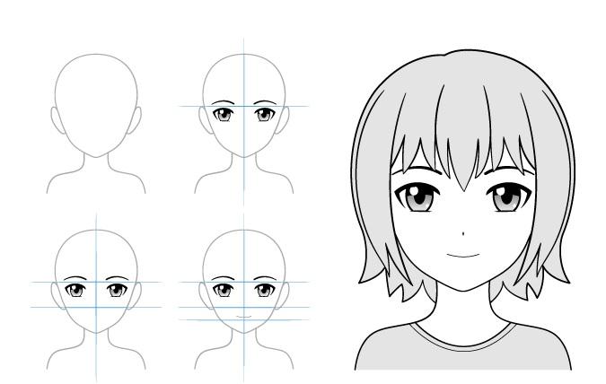 Contoh gambar anime gadis tersenyum ringan