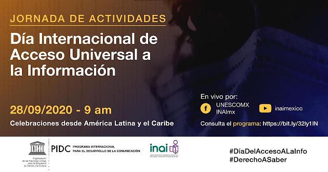 INAI y UNESCO México convocan a jornada para conmemorar Día Internacional del Acceso Universal a la Información
