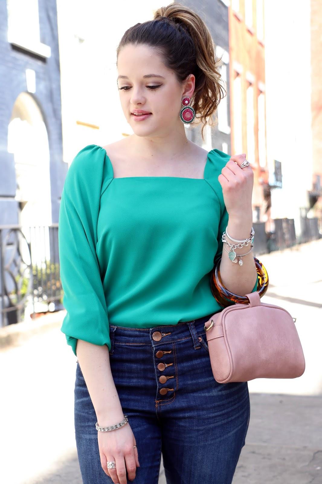 Nyc fashion blogger Kathleen Harper wearing a square neckline top