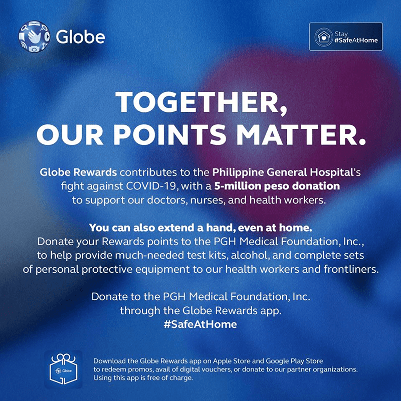Globe Rewards donates PHP 5M to fight COVID-19, you too can help even at home
