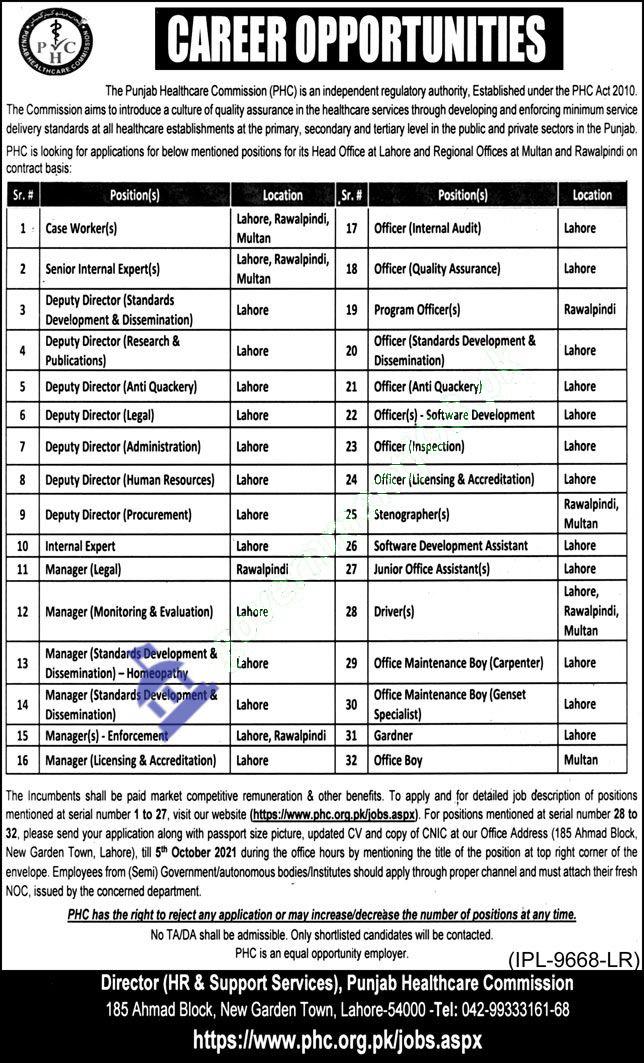 Punjab Healthcare Commission (PHC) September Jobs 2021 – www.phc.org.pk