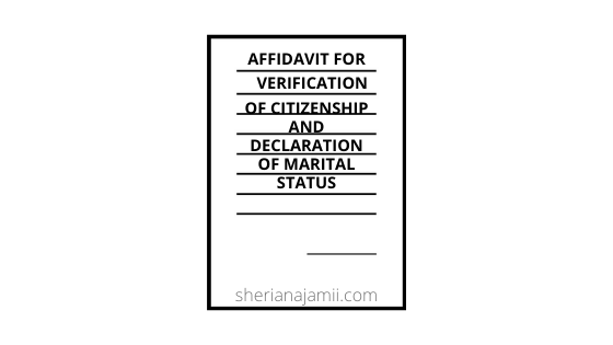 Affidavit  For Verification Of Citizenship  And Declaration Of Marital Status sample