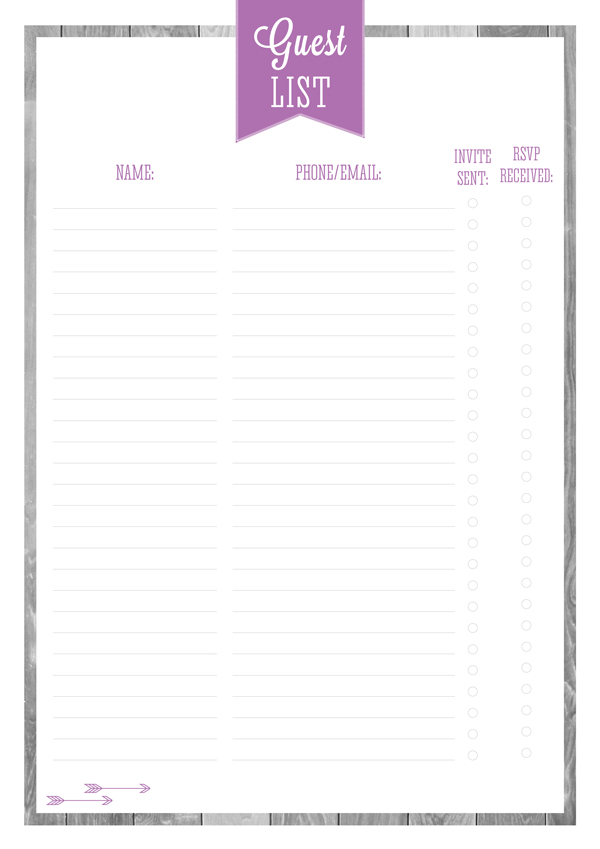 birthday guest list excel template wedding reception