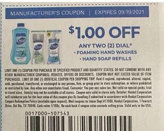 """$1.00/2 Dial Body Wash Coupon from """"SAVE"""" insert week of 9/5/21."""