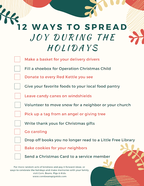 12 Ways to Spread Joy During the Holidays + FREE Printable