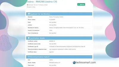 Realme C11 Tips Online On NBTC Certification Site With Model Number RMX2185