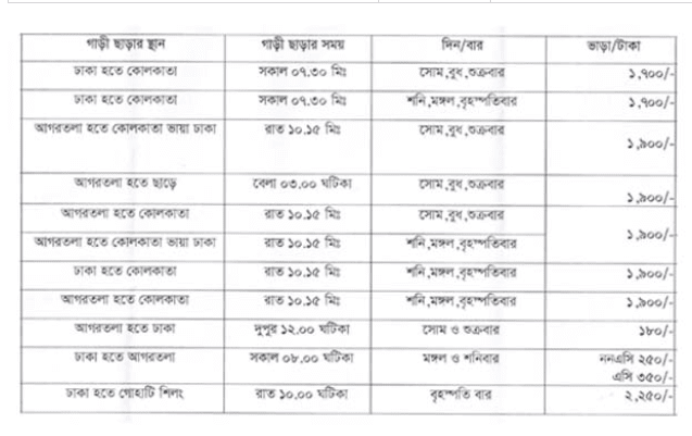 BRTC Dhaka kolkata bus ticket price