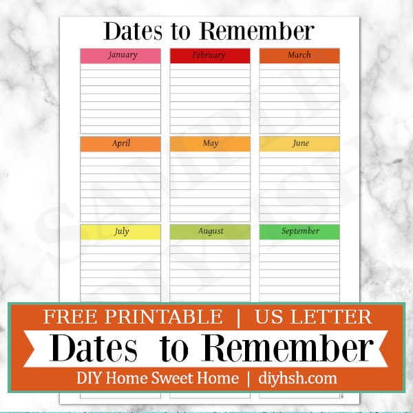 picture about Printable Dates identified as Do it yourself Household Lovable Dwelling: Dates Towards Bear in mind - Residence Command