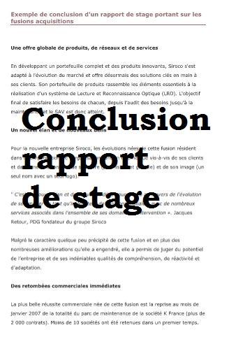 Conclusion rapport de stage exemple rapport de stage Doc etudiant