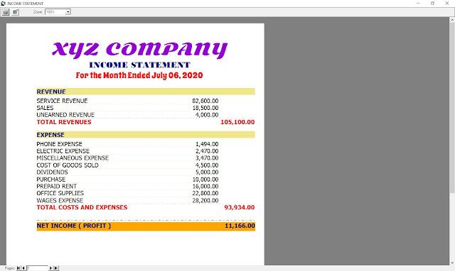 BUSINESSPRO Income Statement