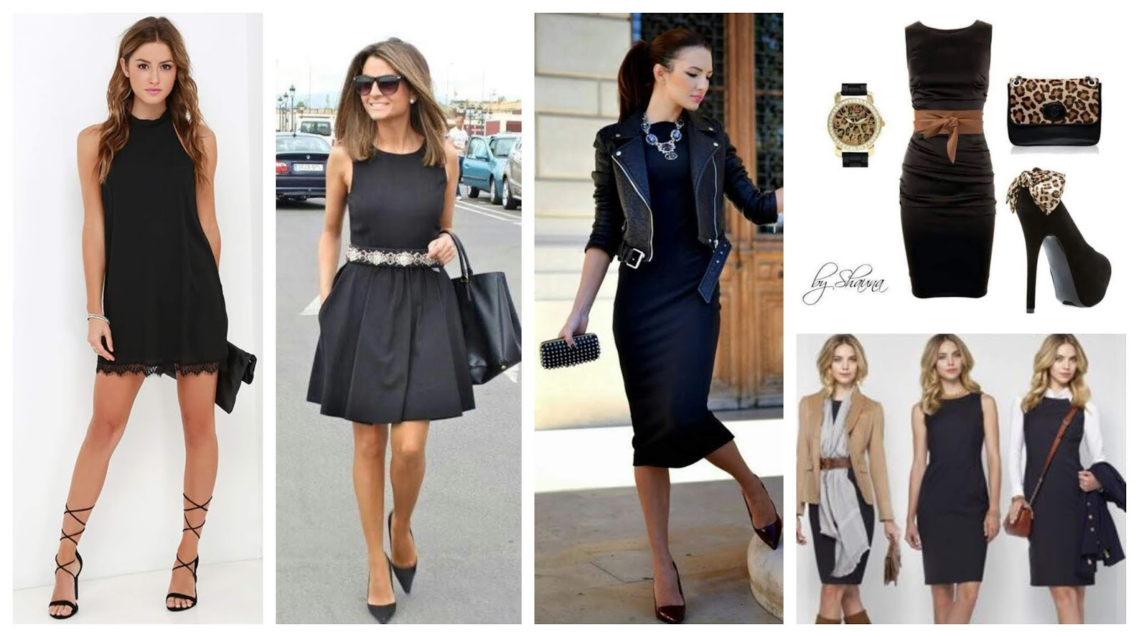 Combinacion de vestido negro casual