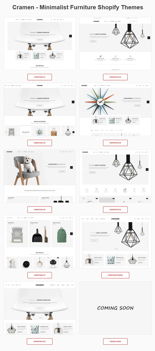Minimalist Furniture Shopify Themes