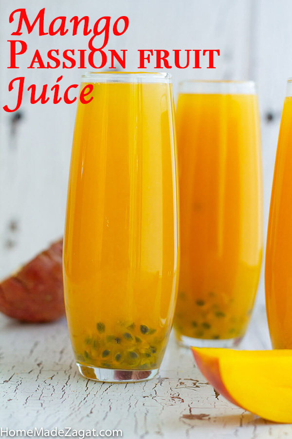 Image of mango and passion fruit juice with text for pinterest
