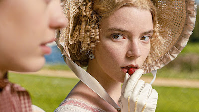 The lead actress, Anya Taylor-Joy, during the strawberry picking party in Autumn de Wilde's film, Emma (2020).