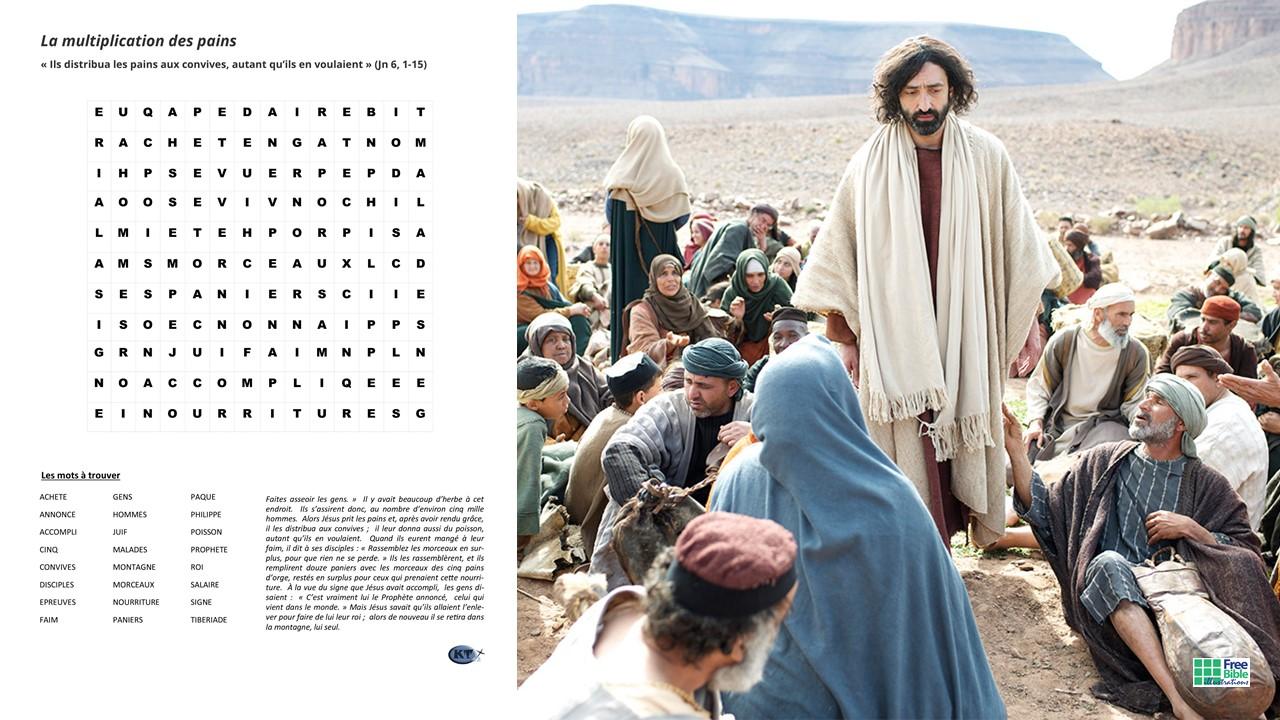MOTS CACHÉS : LA MULTIPLICATION DES PAINS selon Jean 6, 1-15