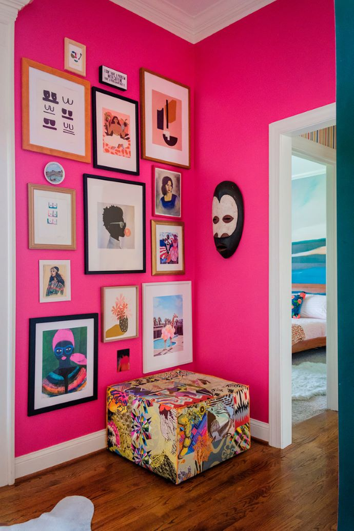Pink foyer with gallery wall