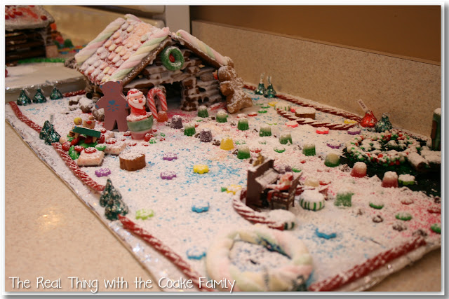 Log Cabin Style Gingerbread house decorated