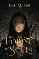 Book cover from Forest of Souls. Young woman with shadows from tree branches. She has a weapon strapped to her back that is visible over her shoulder.