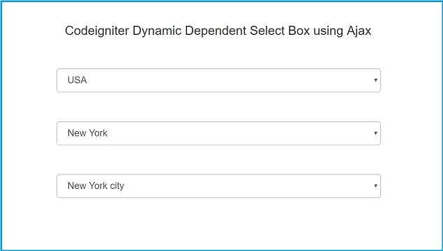 Codeigniter Dynamic Dependent Select Box using Ajax | Webslesson