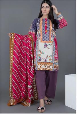 purple and pink khaddar 3 piece suit