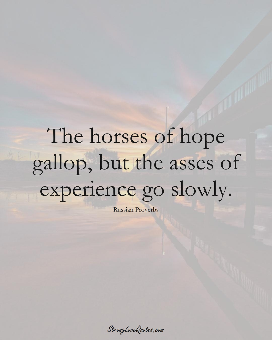 The horses of hope gallop, but the asses of experience go slowly. (Russian Sayings);  #AsianSayings