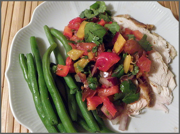 Salsa topping leftover roast chicken and green beans