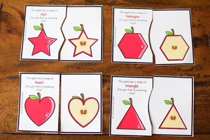 FREE Apple Shape Matching Cards