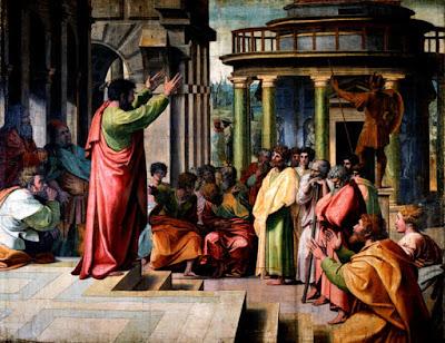 """""""São Paulo pregando em Atenas"""" (1515): pintura de Rafael (1483-1520) pertencente ao acervo do Museu Victoria e Albert, em Londres."""