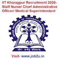 IIT Kharagpur Recruitment 2020, Staff Nurse, Chief Administrative Officer, Medical Superintendent