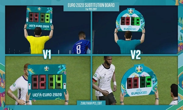 EURO 2020 SUBSTITUTION BOARD For PES 2017