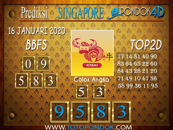 Prediksi Togel SINGAPORE PONDOK4D 16 JANUARI 2020