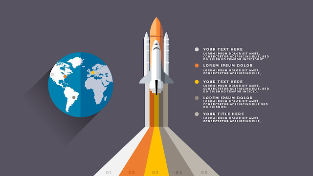 Free PowerPoint Template with Rocket Infographics and Earth Diagram