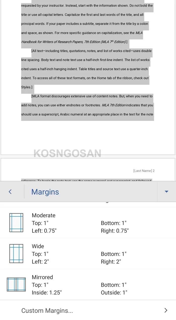 cara mengubah margin word HP