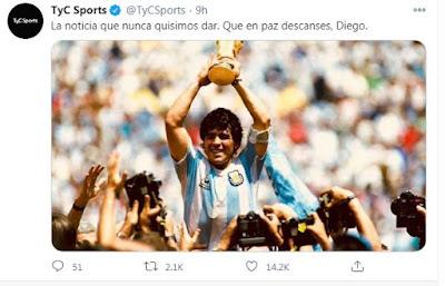 TyC Sport Twiteer maradona meninggal
