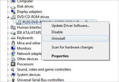 Uninstall DVD CD ROM driver