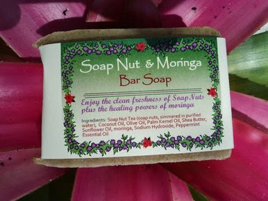 green virgin soap nut and moringa peppermint bar soap