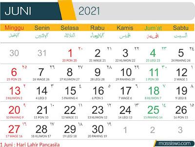 Template Kalender 2021 Bulan Juni
