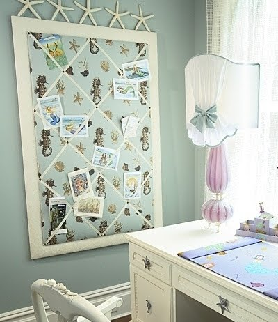 French style memo board with coastal fabric
