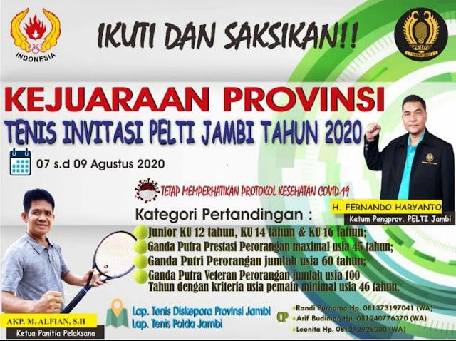 PELTI Jambi Gelar Kejuaraan Tenis pada Bulan Agustus 2020