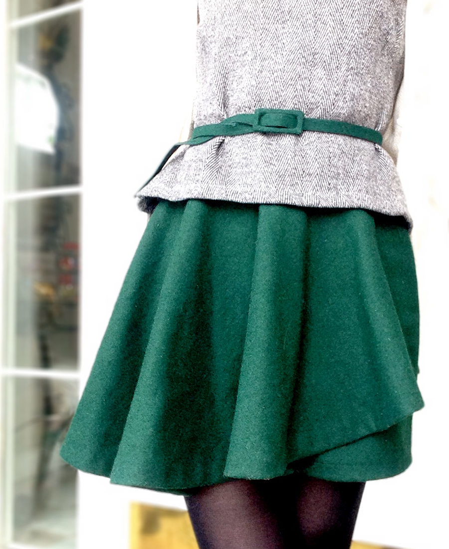 Tweed peplum top and assymetric skirt